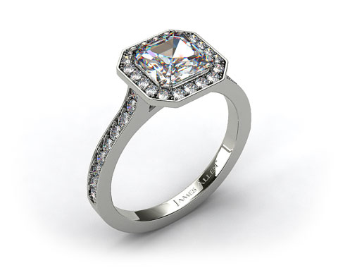 14k White Gold Pave Halo &amp; Shoulders Engagement Ring (Asscher Center)